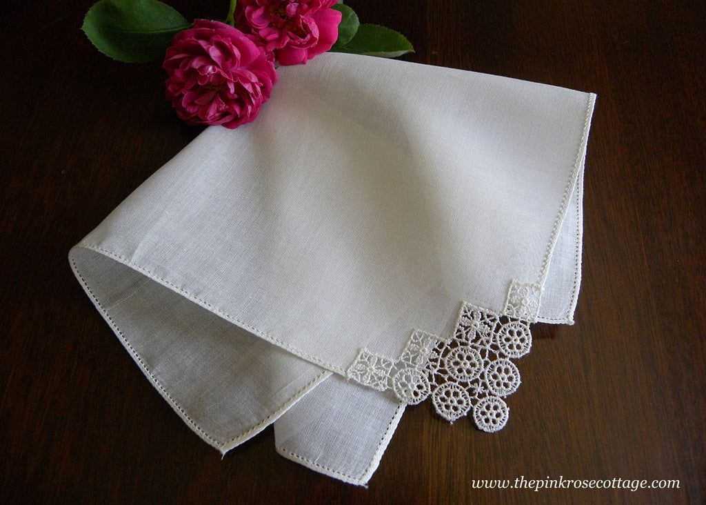 Vintage Linen Bridal Handkerchief with Petite Flower Corner Tatting
