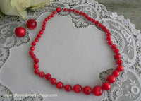 Vintage Moonglow Red Necklace and Earring Set