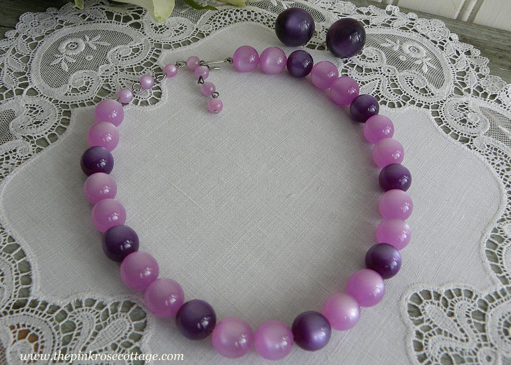 Vintage Lavender and Purple Moonglow Beaded Necklace and Earring Set