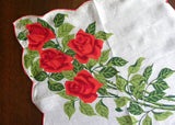 Tagged Hermann Red Roses Bouquet Irish Linen Handerkerchief