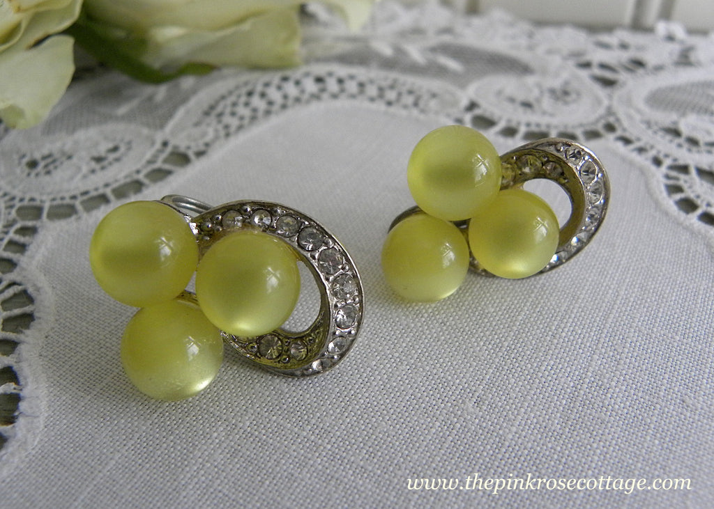 Vintage Yellow Moonglow and Rhinestone Earrings
