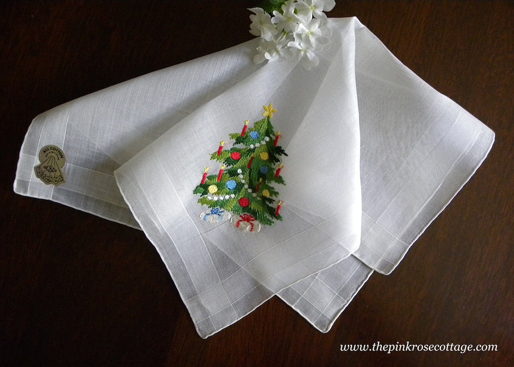 MWT Vintage Desco Embroidered Christmas Tree and Presents Handkerchief