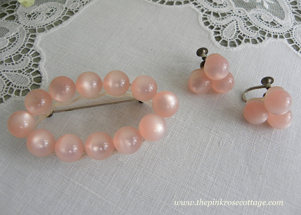 Vintage Pink Moonglow Beaded Pin Brooch and Matching Earrings