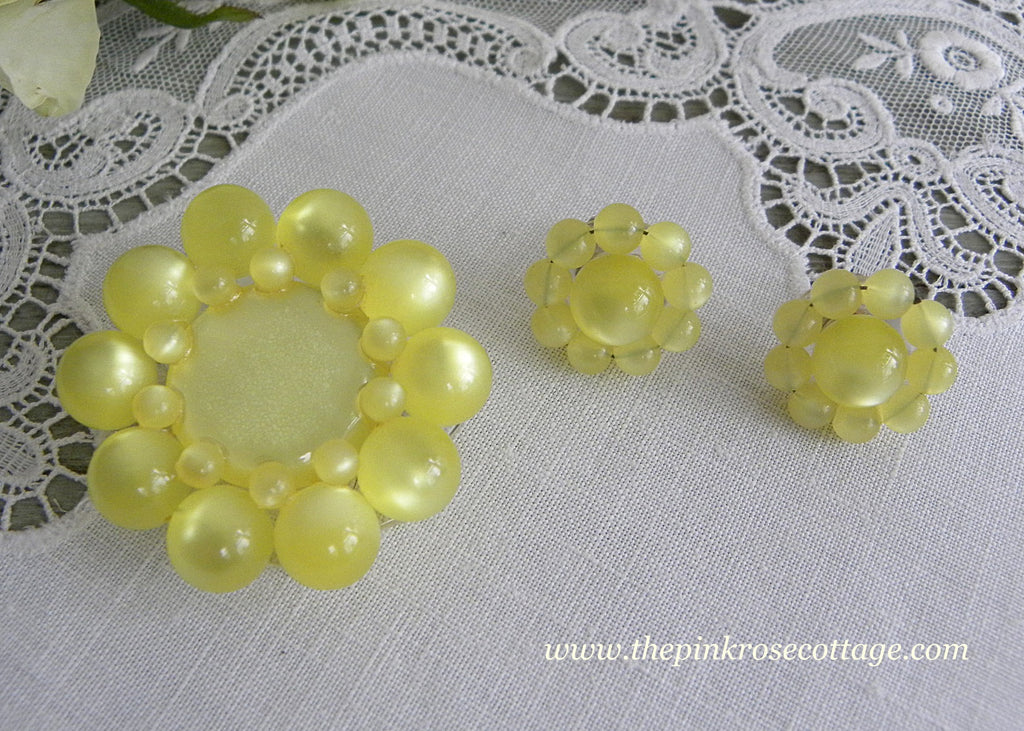 Vintage  Yellow Daisy Moonglow Beaded Pin Brooch and Earrings - The Pink Rose Cottage