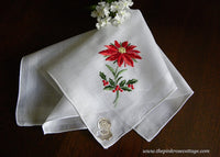 MWT Vintage Desco Embroidered Christmas and Poinsettia Handkerchief