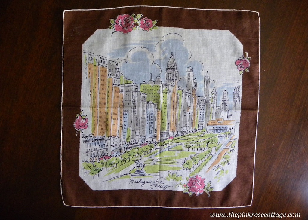 Vintage Souvenir Handkerchief Michigan Ave Chicago