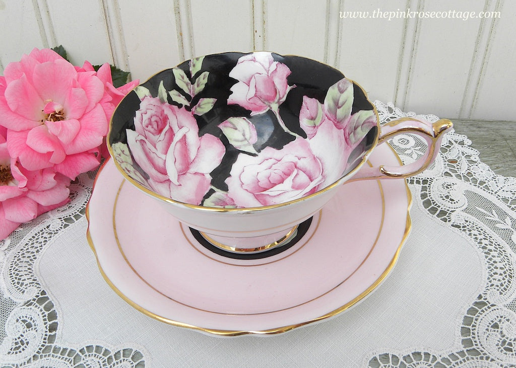 Vintage Paragon Pink Cabbage Roses on Black Teacup and Saucer