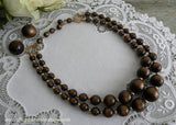 Vintage Chocolate Moonglow Necklace Double Strand Necklace and Earrings
