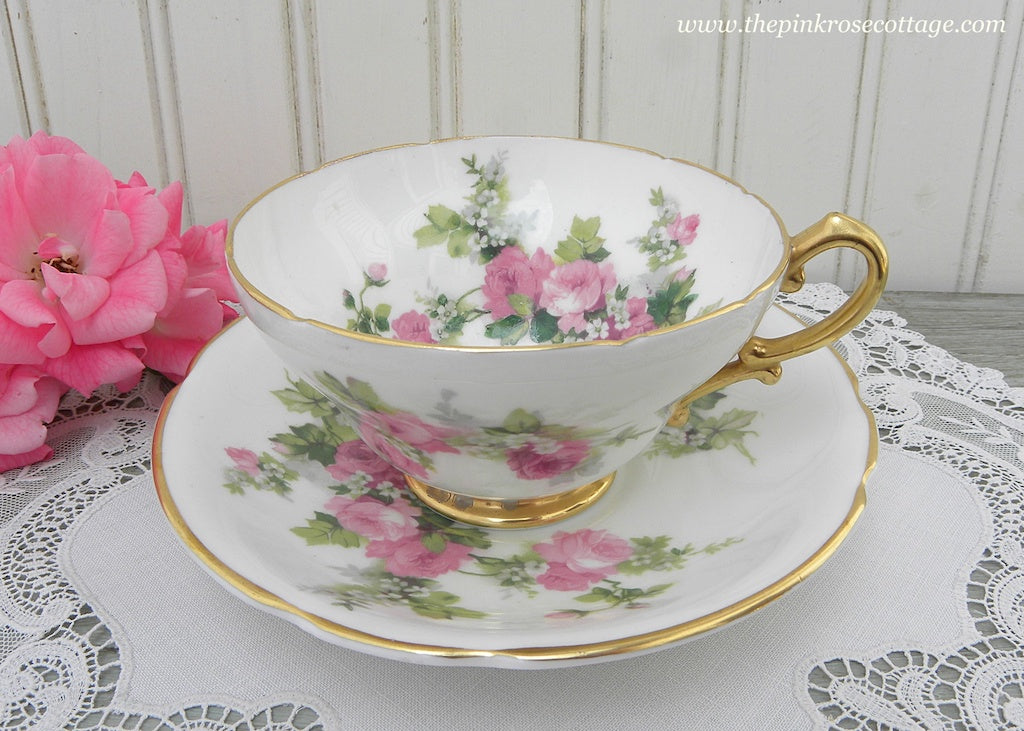 Vintage Stanley Teacup and Saucer with Pink Roses and Baby's Breath