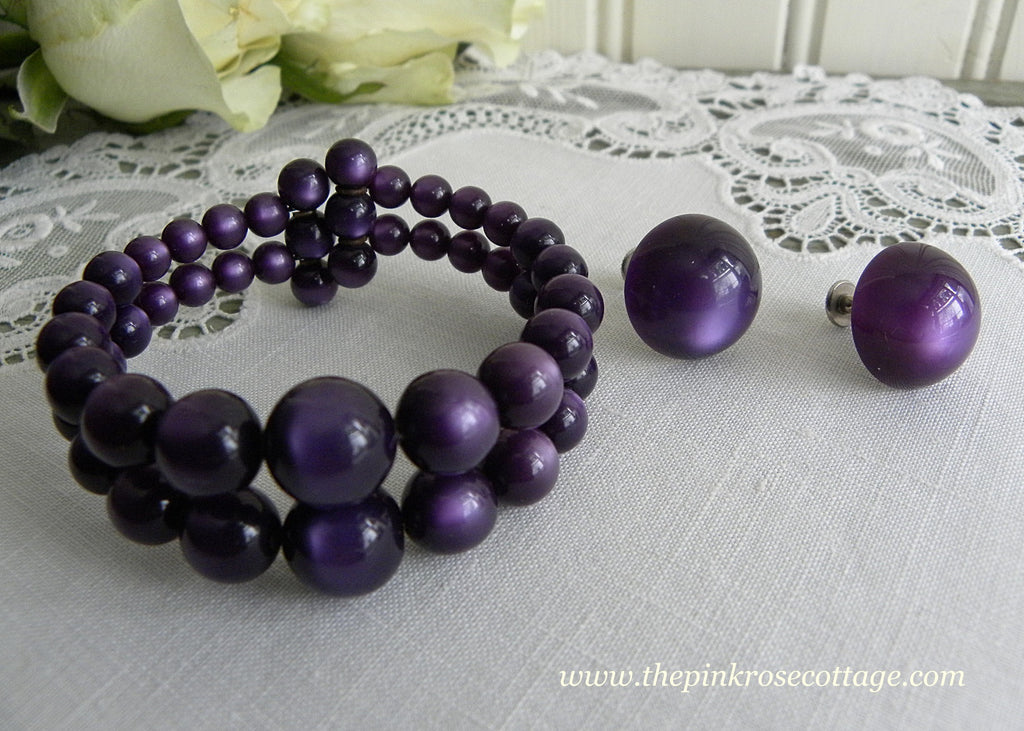 Vintage Dark Purple Moonglow Beaded Bracelet and Earring Set