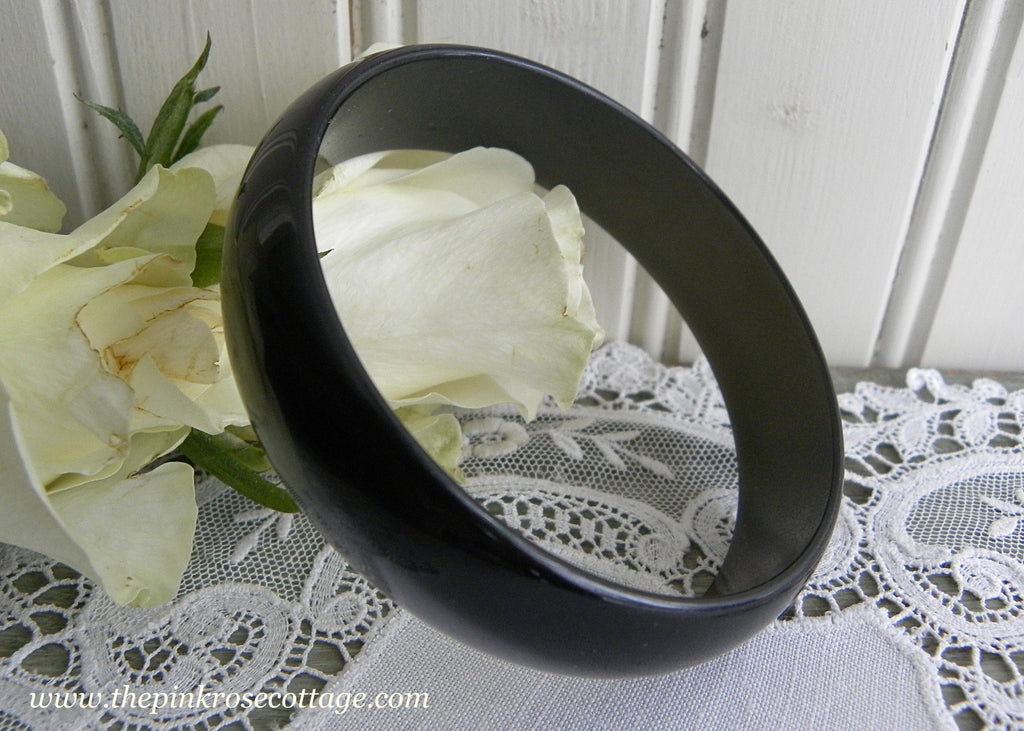 Vintage Smokey Gray Black Moonglow Bangle Bracelet