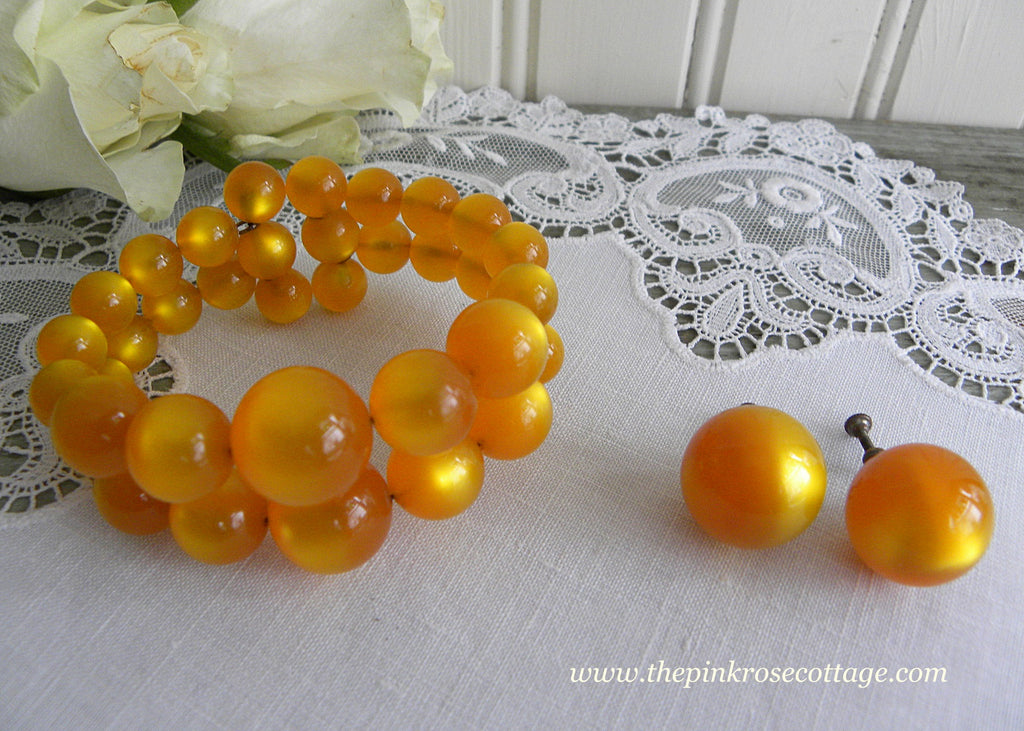 Vintage Marigold Yellow Moonglow Beaded Spring Bracelet and Earrings