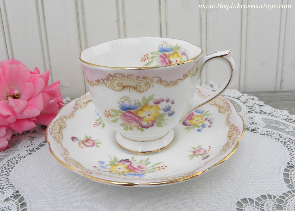 1940's Vintage Royal Albert Teacup and saucer Pink Roses and Little Flowers