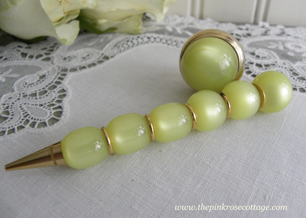 Vintage Chartreuse Moonglow Bead Retractable Clip Mechanical Pencil