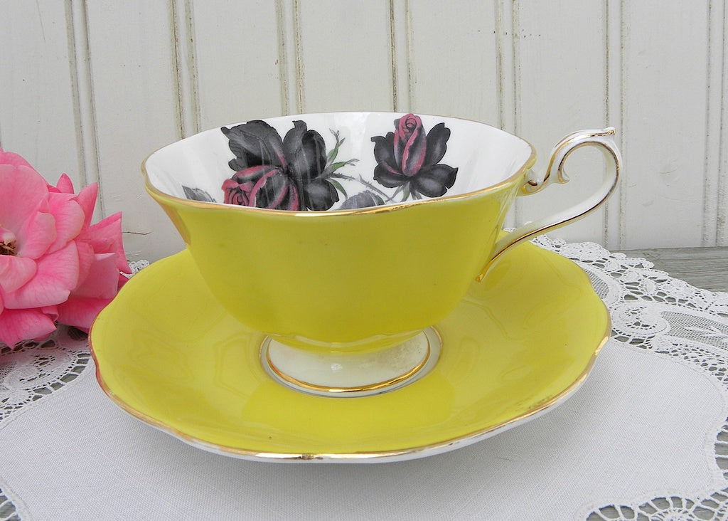 Vintage Royal Albert Yellow Masquerade Black Rose Teacup and Saucer