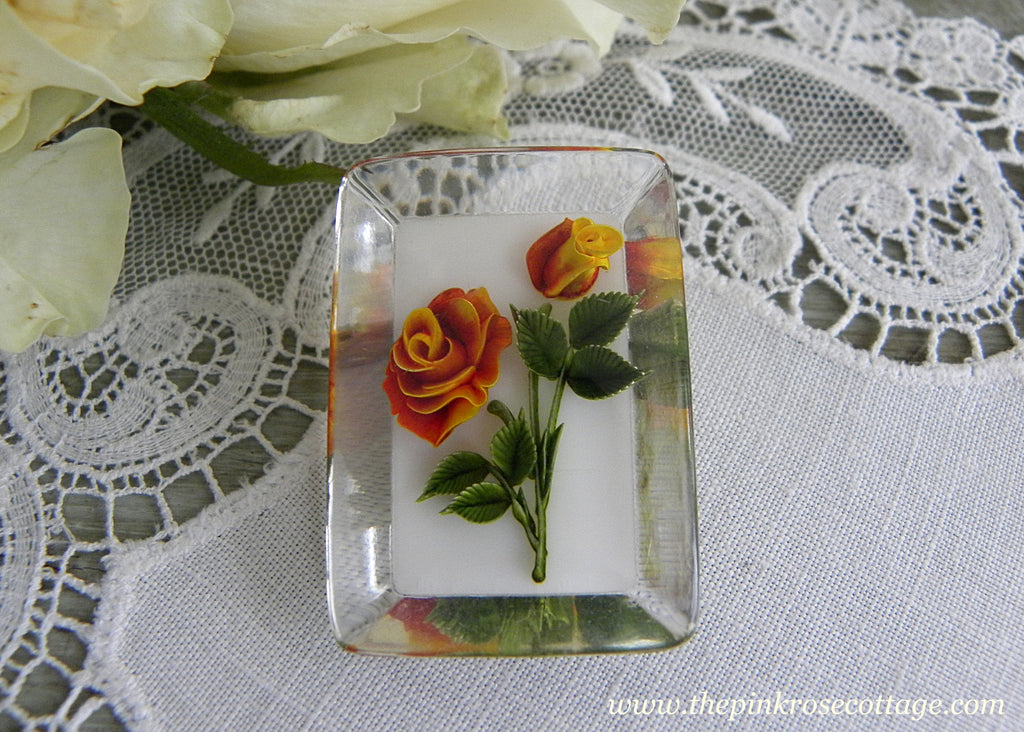 Vintage Lucite Yellow and Orange Rose Pin Brooch