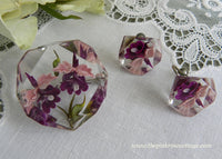 Vintage Lucite Purple and Pink Orchid Pin and Earrings
