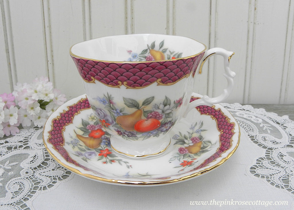 Vintage Royal Albert Imperial Fruit Series Crimson Lake Teacup and Saucer