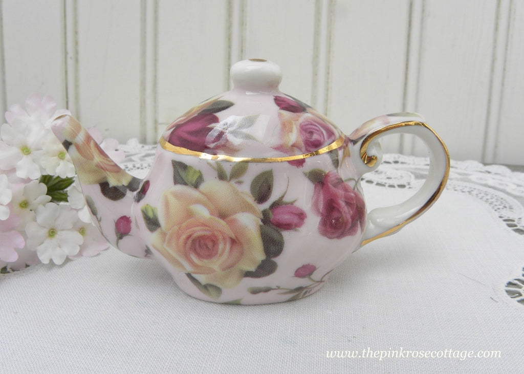 Pink and Yellow Rose Chintz Teapot Figurine