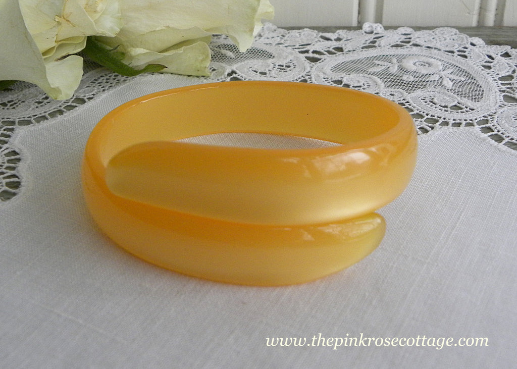 Vintage Yellow Gold Moonglow Bangle Bypass Wrap Bracelet
