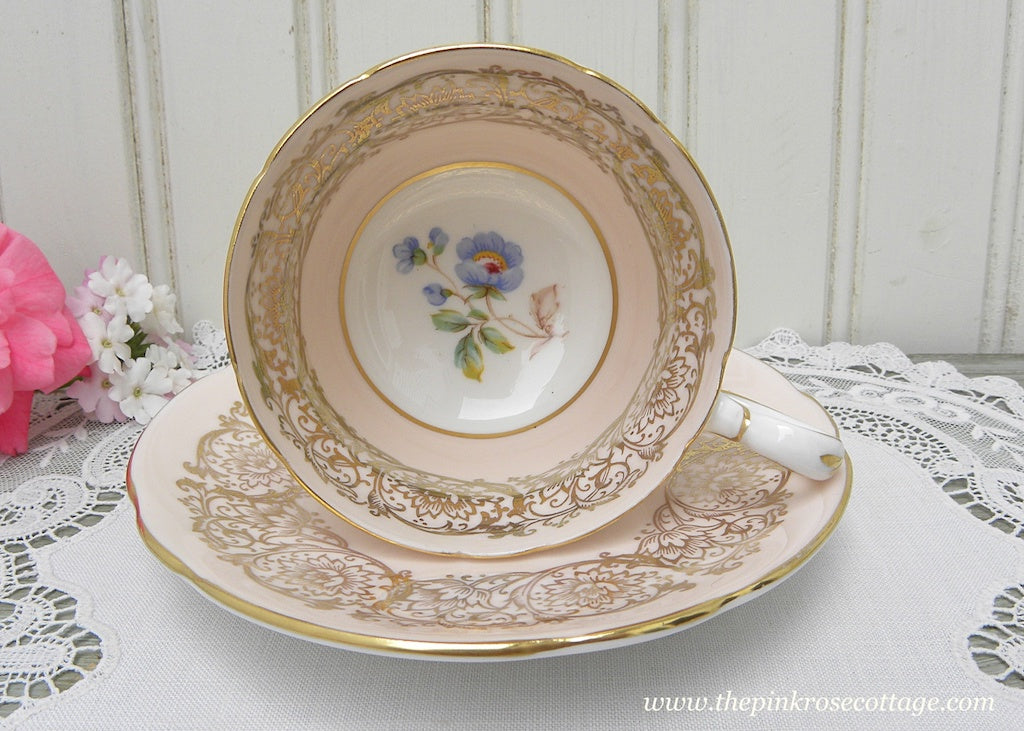Vintage Paragon Demitasse Pink Teacup and Saucer Gold Gilt Blue Flower