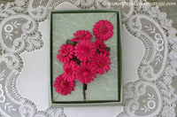 Vintage Dark Pink Daisies Millinery Flower Corsage Pin and Earring Set NOS MIB