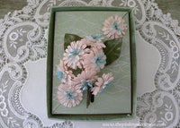 Vintage Light Pink and Blue Daisy Millinery Flower Corsage Pin and Earring Set NOS MIB