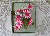 Vintage Fuchsia Pink and White Daisy Millinery Flower Corsage Pin and Earring Set NOS MIB