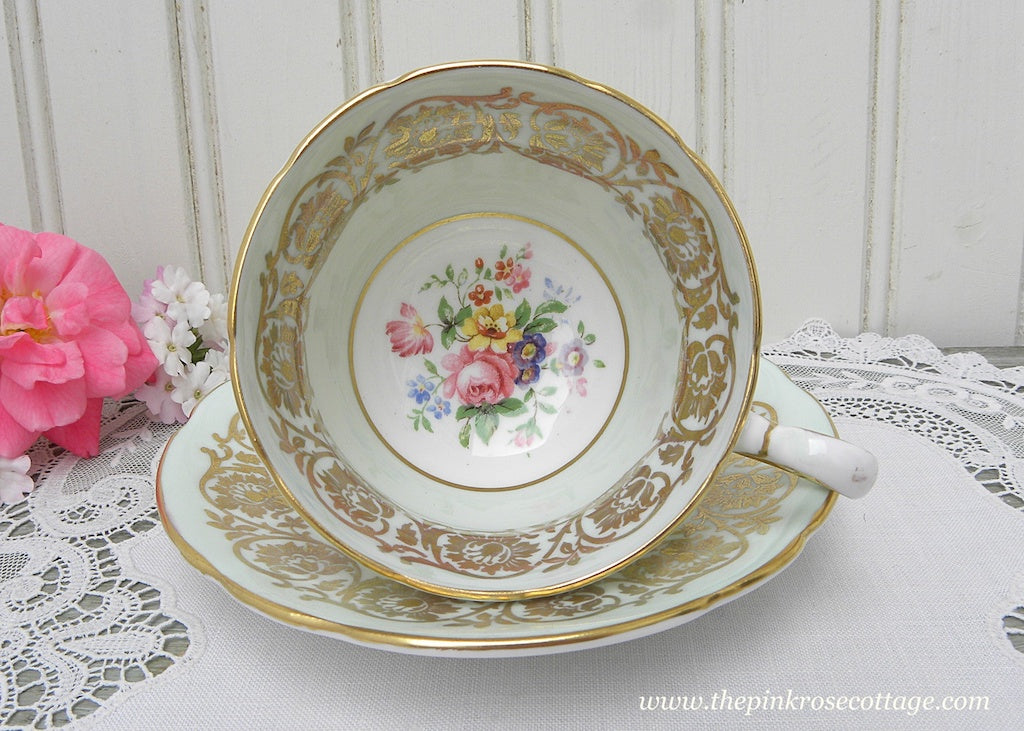 Vintage Paragon Demitasse Green Teacup and Saucer Gold Gilt Pink Rose