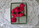 Vintage Magenta Pink Rose and Daisies Millinery Flower Corsage Pin and Earring Set NOS MIB