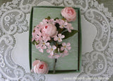 Vintage Pink Rose and Daisies Millinery Flower Corsage Pin and Earring Set NOS MIB