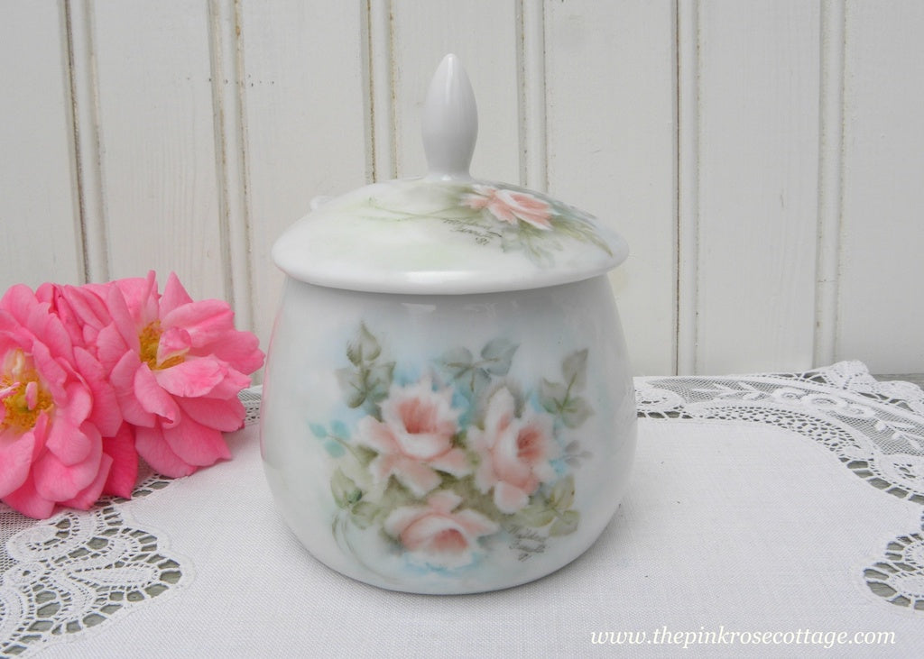 Vintage Hand Painted Peachy Pink Roses Mustard Pot