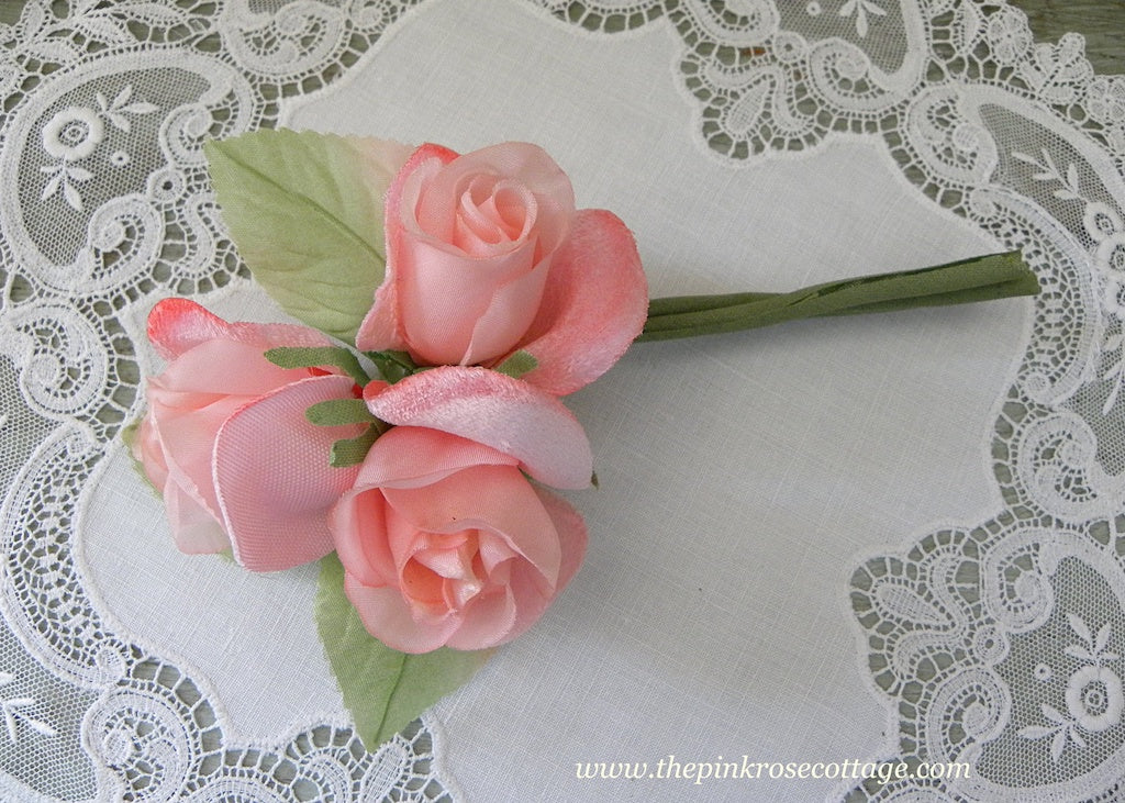 Vintage Corsage Trio of Pink Roses Millinery Flowers