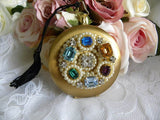 Vintage Pocket Watch Ladies Powder Compact with Rhinestones and Pearls - The Pink Rose Cottage