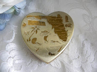 Unused Vintage Heart Shaped Souvenir of Florida Ladies Powder Compact - The Pink Rose Cottage