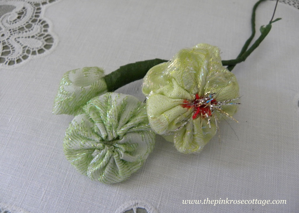 Vintage Handmade Green Fabric Millinery Flower