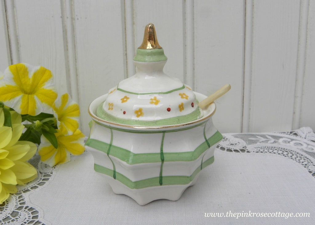Vintage Green and White Mustard Pot with Petite Yellow Flowers