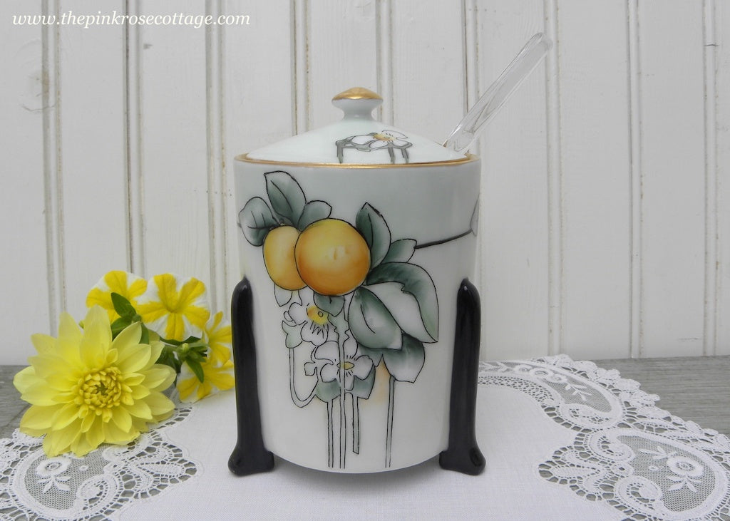 Vintage Art Deco Hand Pained Oranges and Orange Blossom Jam Marmalade Jar