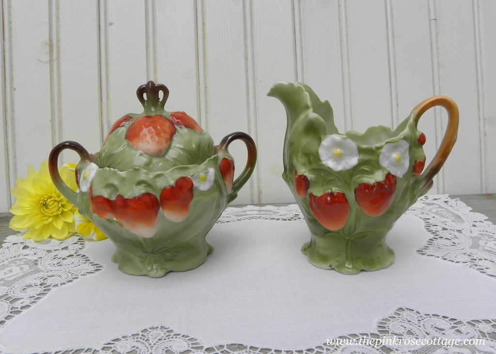 Vintage Strawberries and Strawberry Blossom Sugar and Creamer