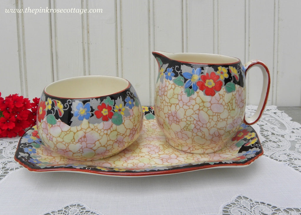 Vintage Royal Winton Grimwades Rosalind Chintz Sugar Creamer and Platter