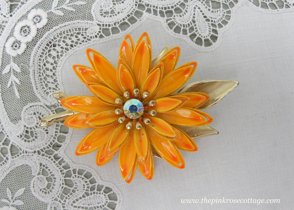 Vintage Light Orange Enameled Flower Pin with Rhinestones