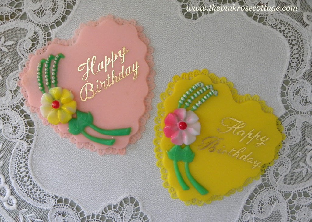 Pair of Vintage Happy Birthday Heart Shaped Cake Toppers Decorations - The Pink Rose Cottage