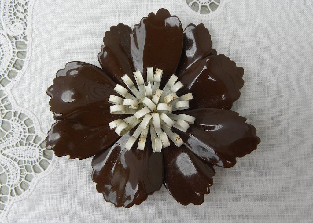 Large Vintage Enameled Brown and White Flower Pin