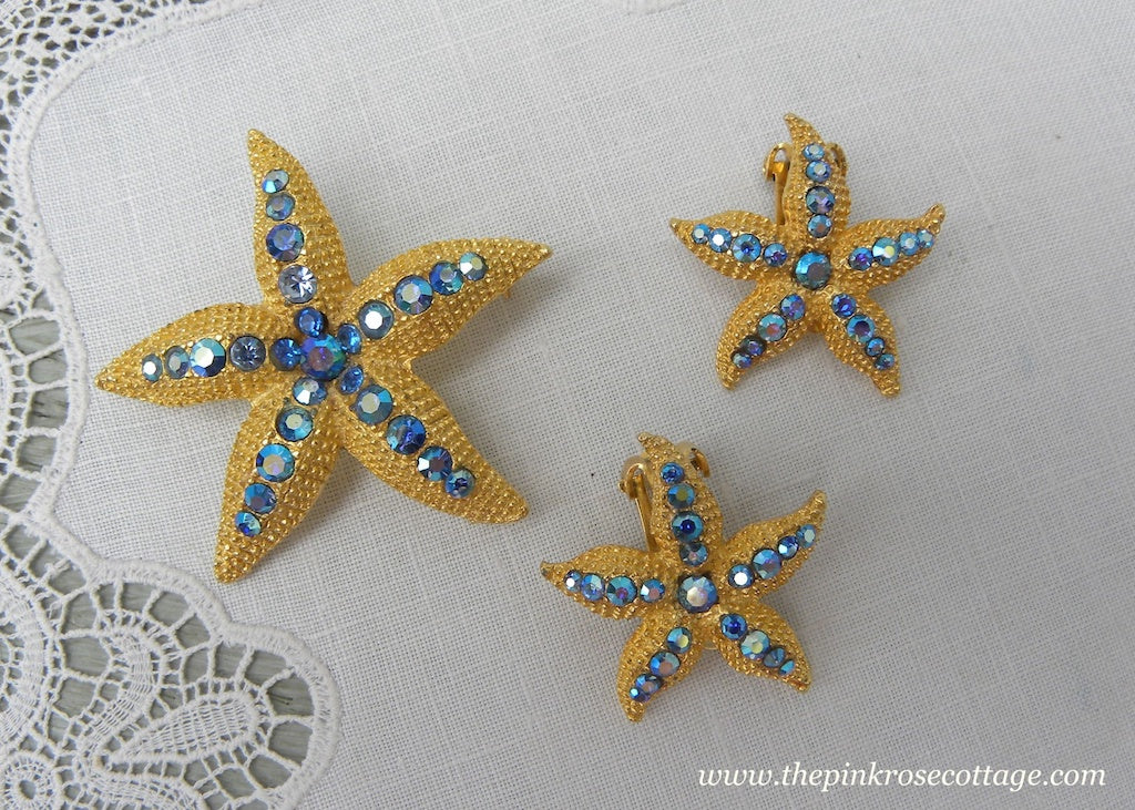 Vintage Blue Rhinestone Starfish Brooch and Earring Set Pin