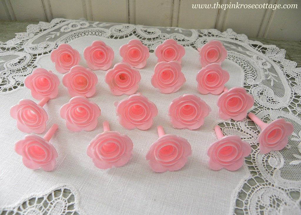 20 Vintage Pink Rose Birthday Cake Cupcake Candle Holders - The Pink Rose Cottage
