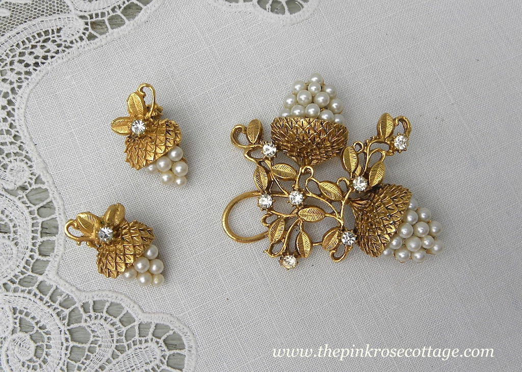 Vintage Acorn Pin and Earring Set with Pearls and Rhinestones
