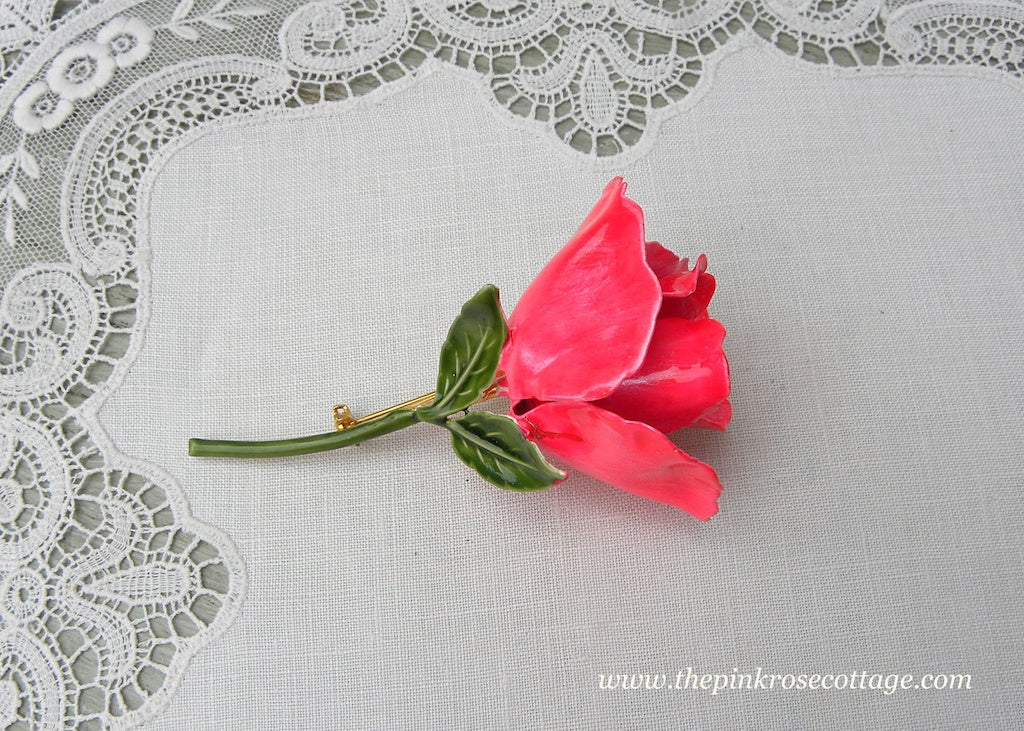 Vintage Enameled Bright Pink Rose Pin Brooch