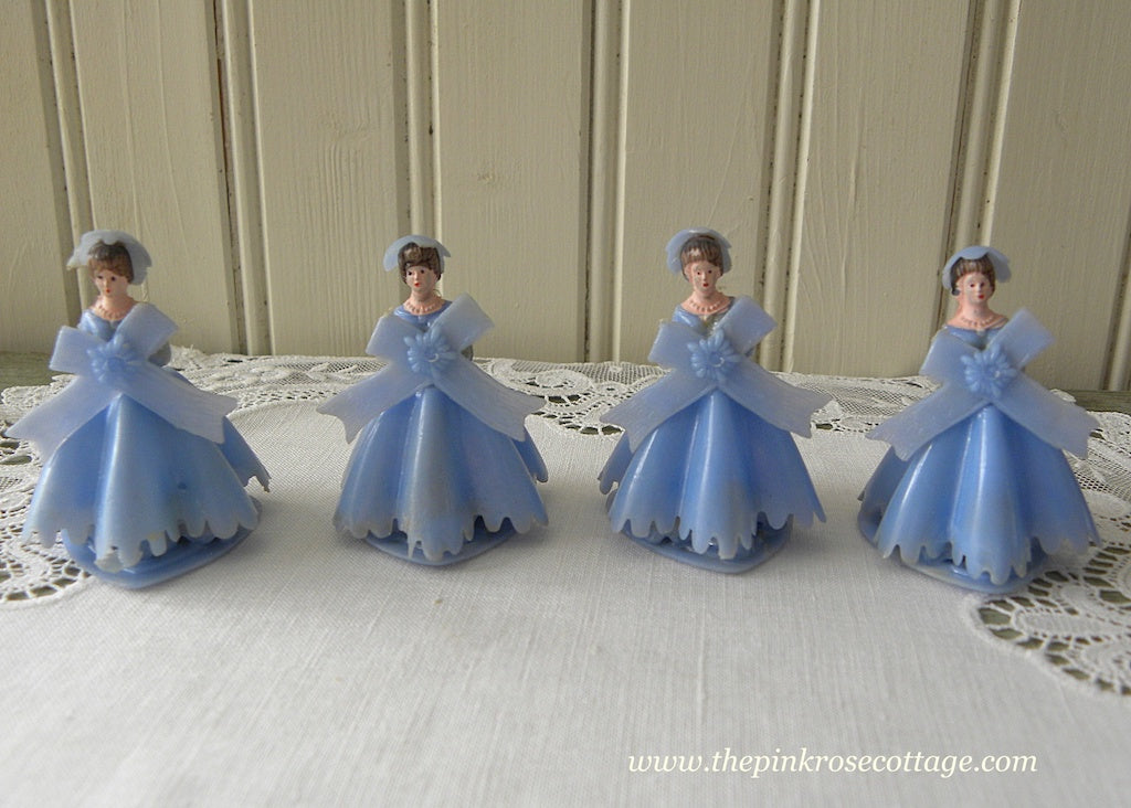 Set of 4 Vintage Bridesmaids Wedding Cake Toppers Blue - The Pink Rose Cottage