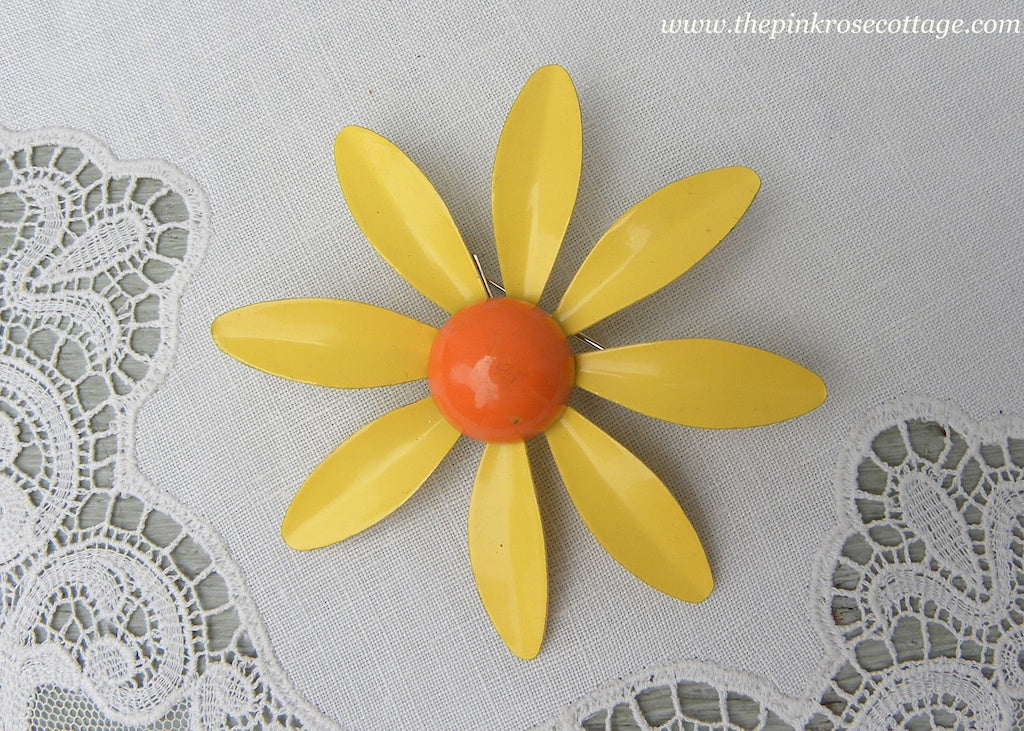 Vintage Enameled Daisy Pin Brooch Yellow and Orange