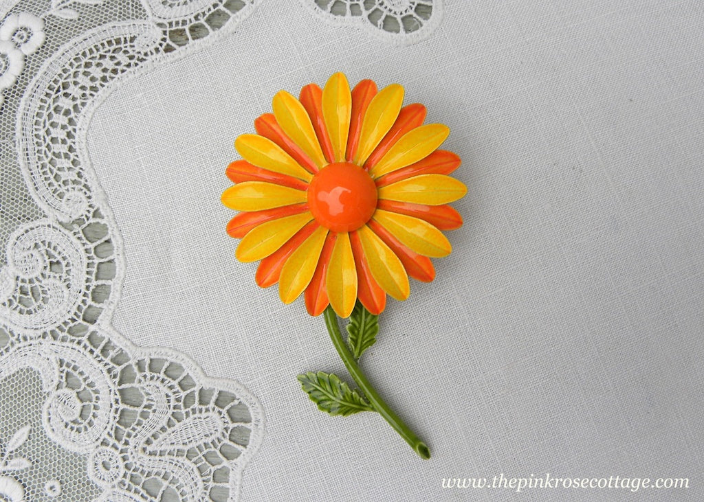 Vintage Enameled Double Petal Yellow and Orange Daisy Pin Brooch